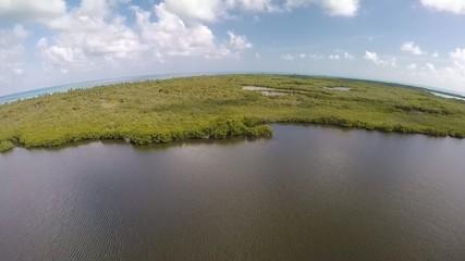 sobrevuelo laguna negra selva manglar en el caribe