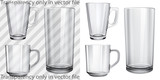 Transparent and opaque empty glass cups and glass for juice poster