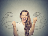 happy woman exults pumping fists ecstatic celebrates success - 81370449
