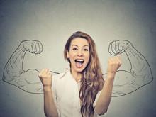 """Постер, картина, фотообои """"happy woman exults pumping fists ecstatic celebrates success"""""""