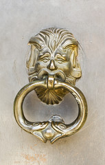 Brass Door Knocker on an Old Building Entry Door