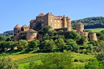 Hilltop castle of Château de Berzé in Burgundy, France