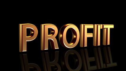 Profit in gold, word isolated on black background