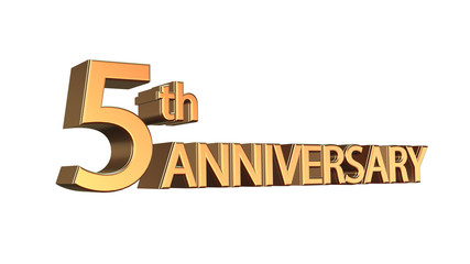 Fifth anniversary symbol in gold isolated on white background