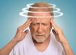 Headshot senior man with vertigo suffering from dizziness