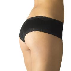 Slim woman wearing black panties