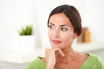 Beautiful woman looking away at indoors