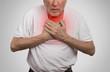 sick old man, elderly guy, having severe infection, chest pain