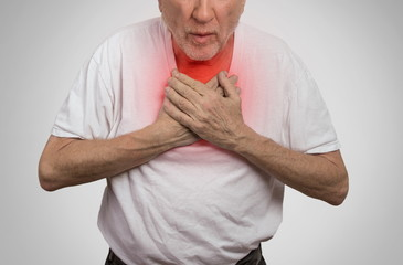 sick old man, elderly guy, having severe infection, chest pain