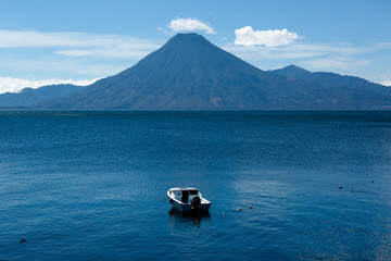 lake atitlan with san pedro volcano in the background