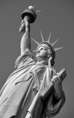 Statue of Liberty in black and white.