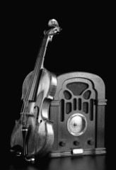Old Radio and Violin in black and white.