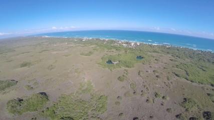 vista aerea cenote playa  selva y mar caribe