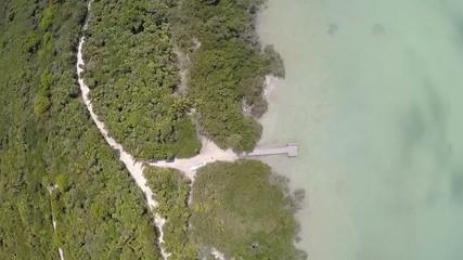 carretera y puerto de madera en selva y lago
