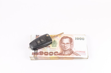 Concept of budget for car loan with wallet on white background