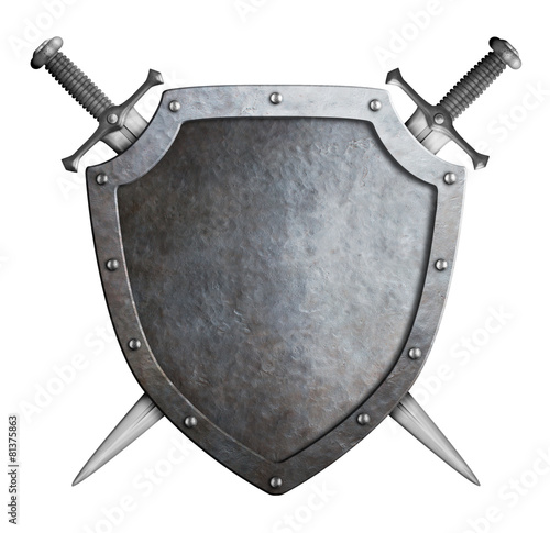 Leinwanddruck Bild shield and swords isolated coat of arms