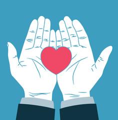 vintage hand giving heart symbol