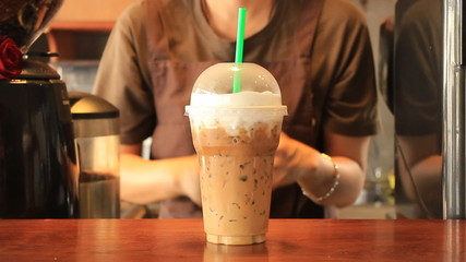 Barista Serving Plastic Glass Of Iced Cappuccino, Stock Video