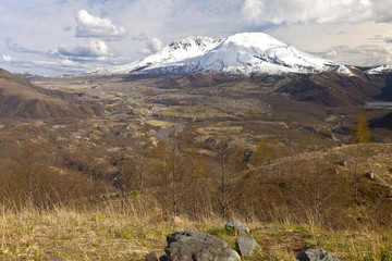 Mt. St. Helen's panoramic view with dramatic skies.