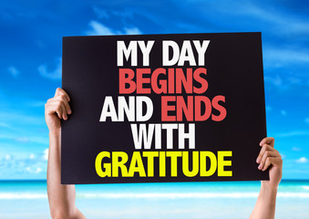 My Day Begins and Ends with Gratitude card with beach