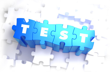 Test - White Word on Blue Puzzles.