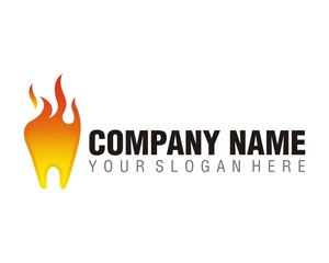 tooth dentist fire flame burn logo image vector