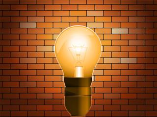 Idea concept on light bulb in brick background