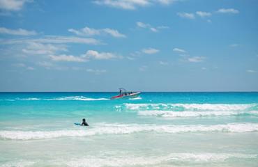The beach of Caribbean sea in Cancun Mexico