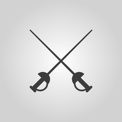 The sword icon. Epee symbol. Flat