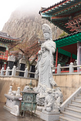 Statue of Guanyin in the temple on Jeju Island South Korea