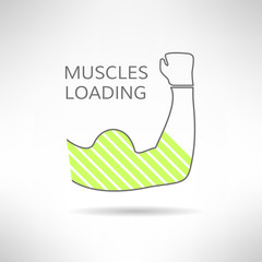 Arm with strong biceps. loading muscles idea. Vector