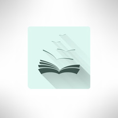 Book icon with seagulls made in modern flat design. Learning and