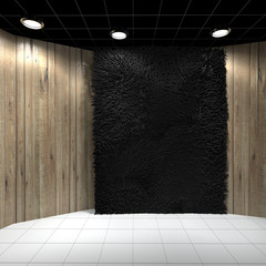 Empty room with Black Carpet on Wooden wall
