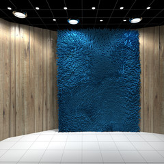 Empty room with Blue Carpet on Wooden wall