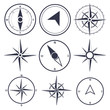 Wind rose compass flat vector symbols set - 81379618