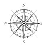 Compass wind rose hand drawn vector design element poster