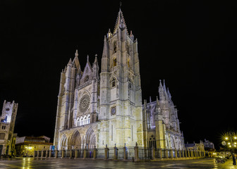 Gothic cathedral of Leon, by night