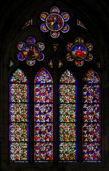 Medieval stained glass cathedral of Leon