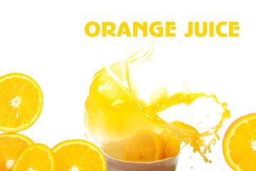 Orange juice and oranges on a white background