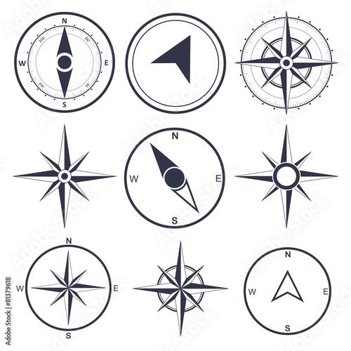 Wind rose compass flat vector symbols set - 81379618