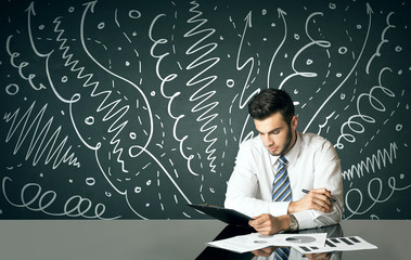 Businessman with curly lines and arrows