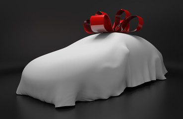 Auto concept of a new covered sports car with a red gift ribbon