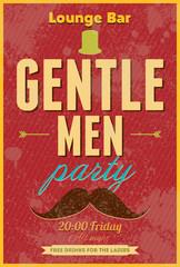 Gentlemen Party. Typography vector poster.