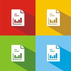 Iconos hoja gráfico barras colores sombra