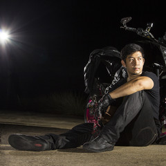 Motorcycle rider sit for relax