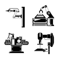 industrial robot and production line icons