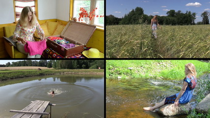 Summer holiday gaiety. Relax in nature. Video clips collage.