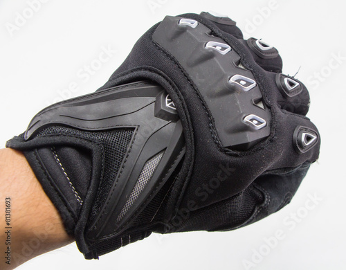 Black Motorcycle gloves isolated on white background - 81381693