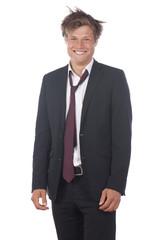 Lustiger Geschäftsmann mit wirren Haaren