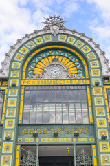 Facade of Abando train station, Bilbao (Spain)